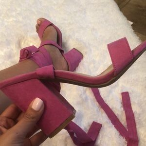 Pink lace up chunky heel
